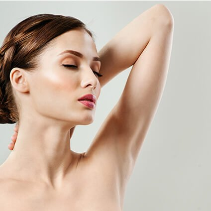 Woman Showing Dry Armpit arter Treatment